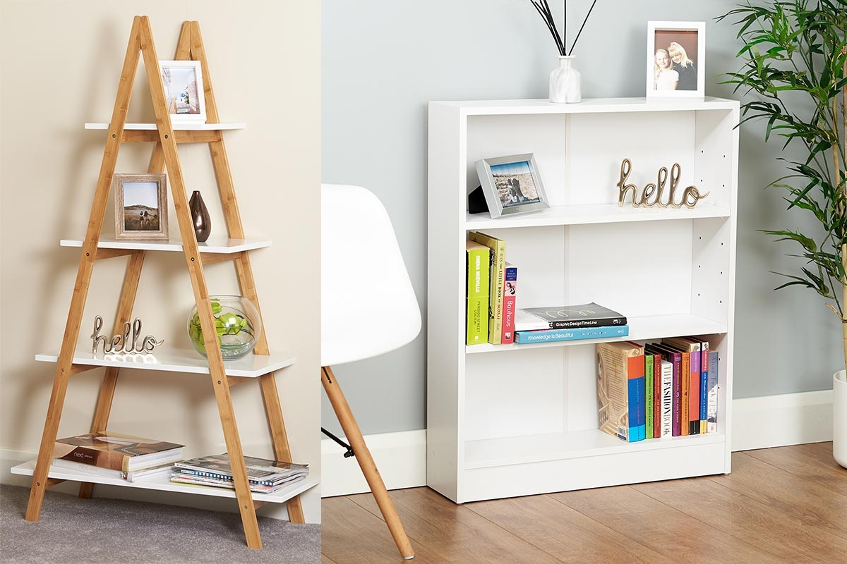 a frame white and bamboo four tier shelf with photo frames and ornaments on with a white bookcase to the right