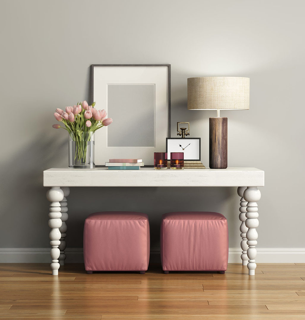 beautiful pink blush square storage boxes in a modern hallway