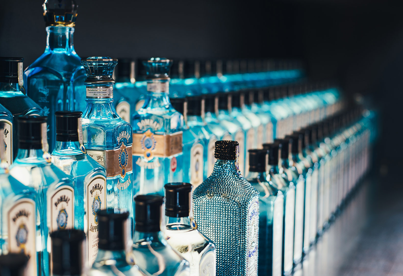 long bar of bottles of gin with great lighting