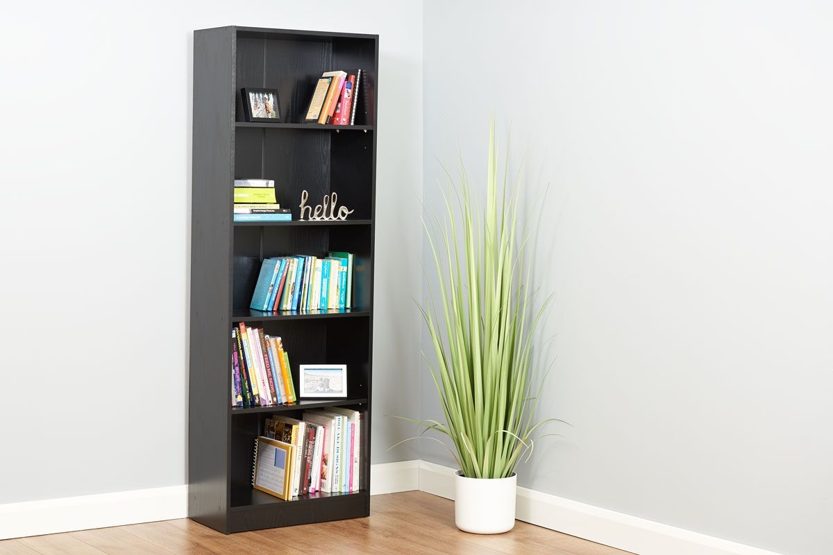 tall black 5 tier bookcase from hartleys direct in a home setup