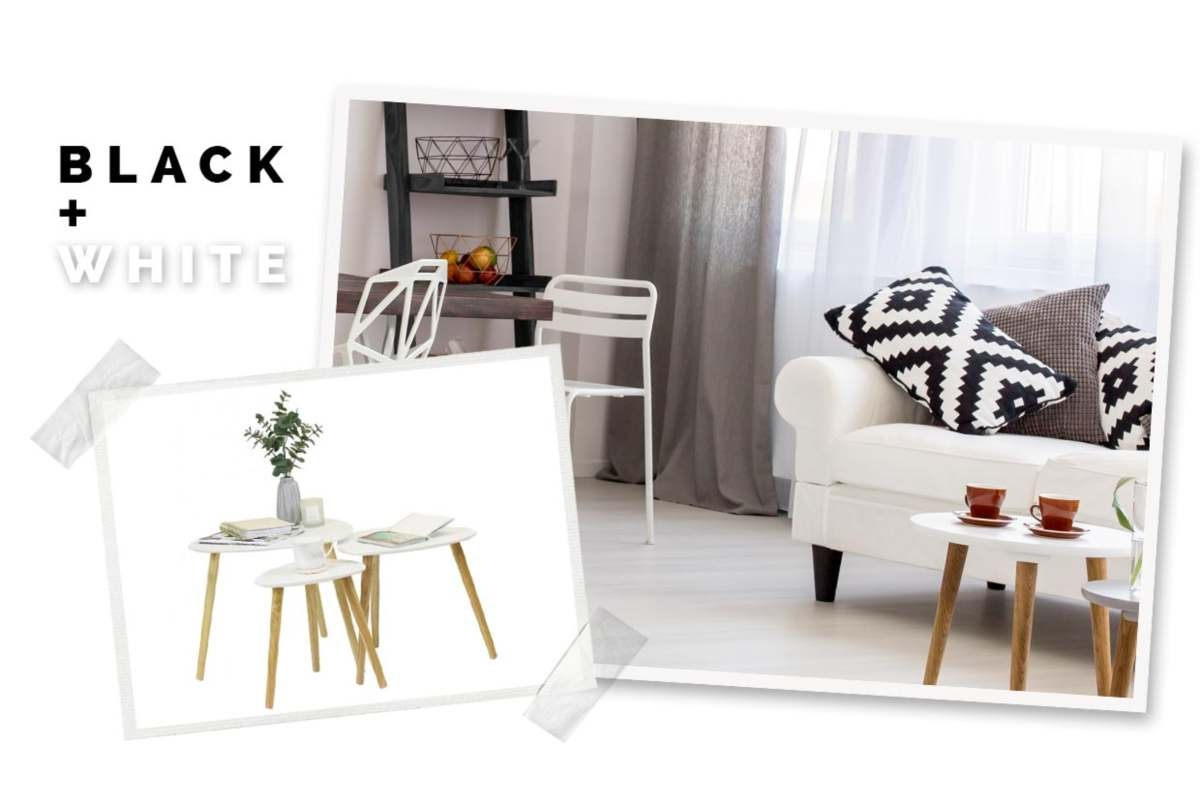 black and white bedroom in a scrapbook style