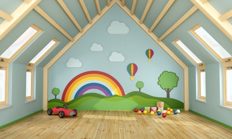 gorgeous kids playroom with lots of colourful toys