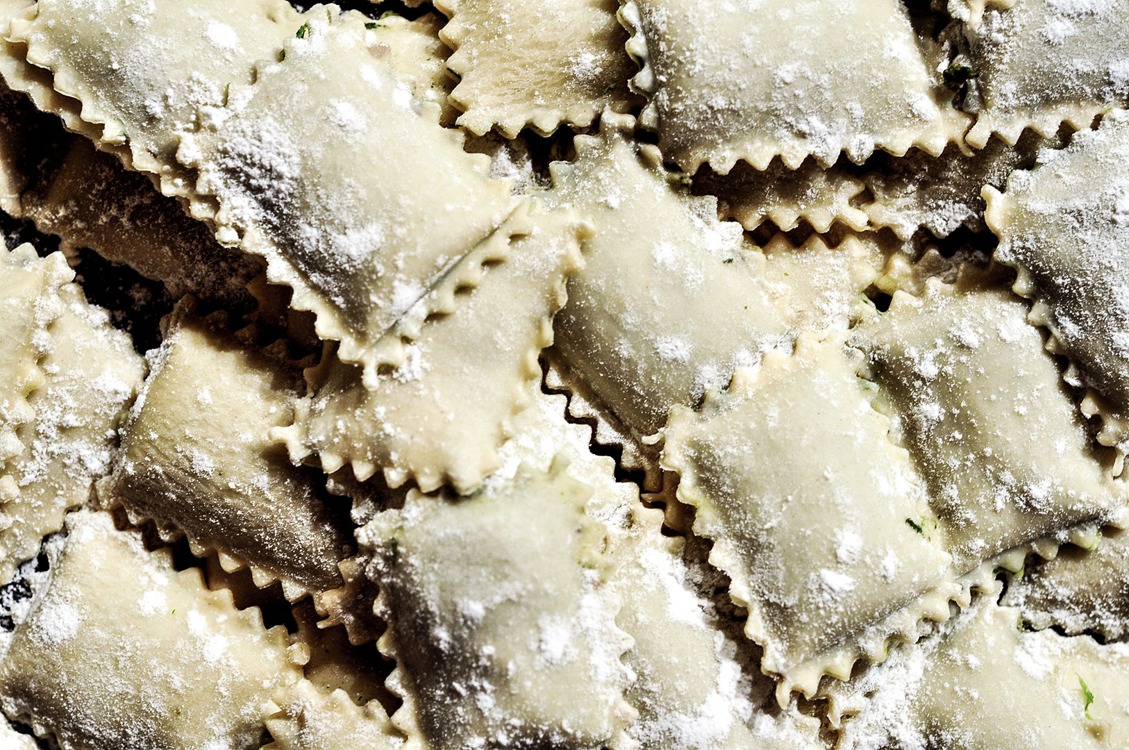 stunning fresh ravioli pasta in a bowl ready to cook for a picnic