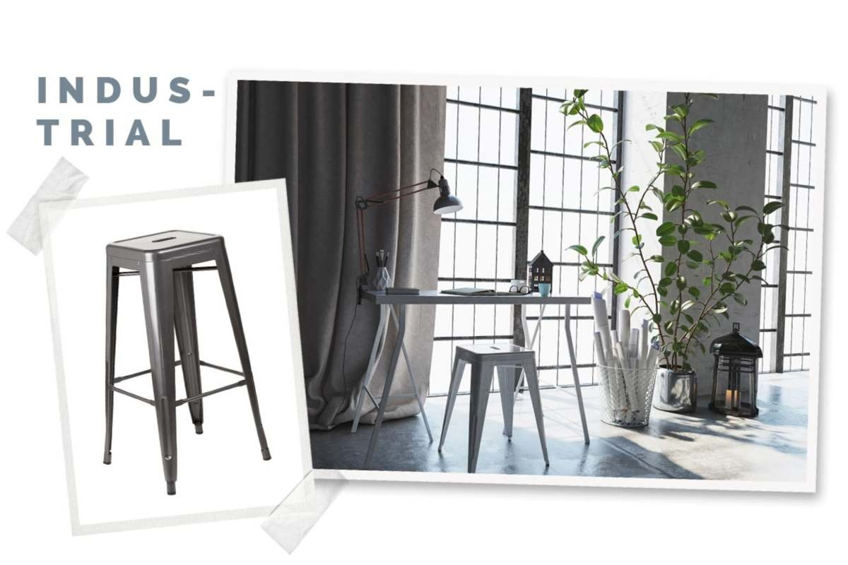 industrial style office with large windows in a scrapbook style