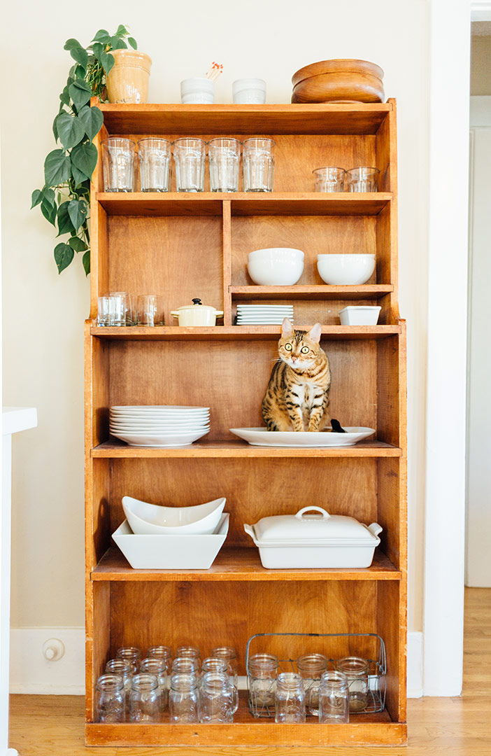 stunning wooden shelving unit with crockery on it