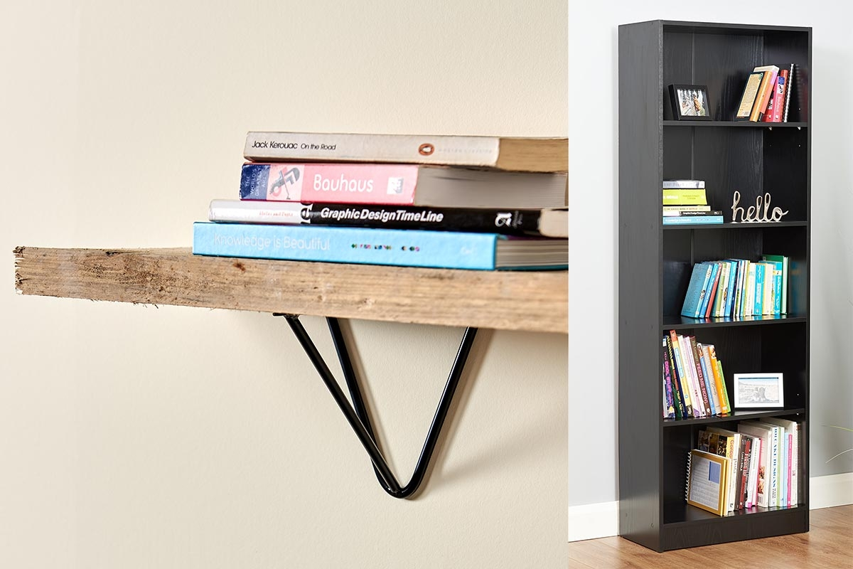 reclaimed wood with prism hairpin shelf brackets and on the right is a five tier black bookcase