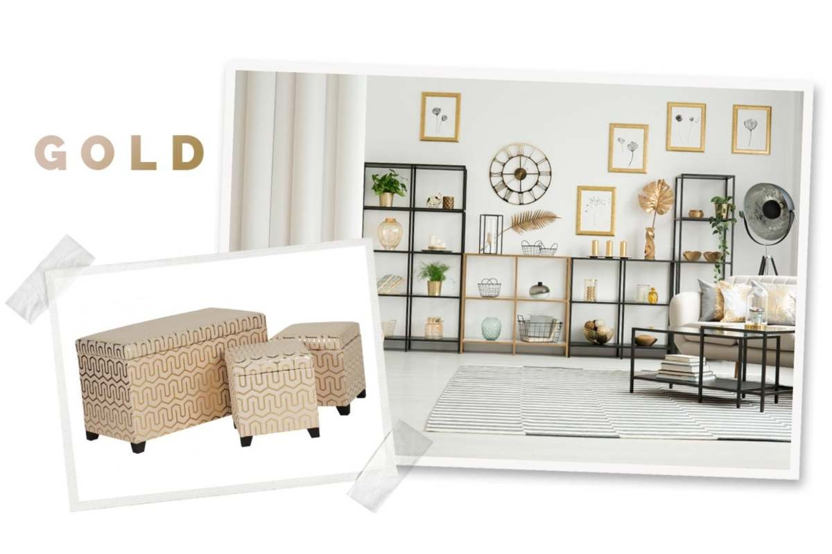 stunning storage with gold detailing on a scrapbook