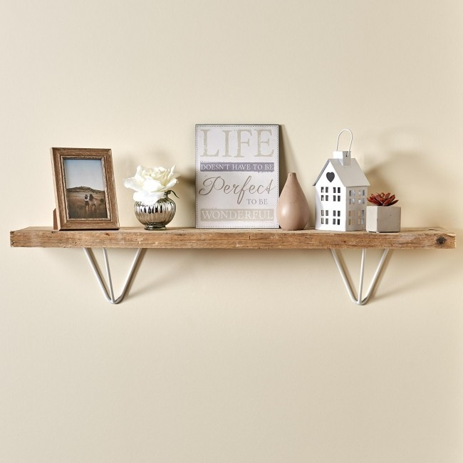 stunning white hairpin prism shelf brackets with a wooden shelf attached