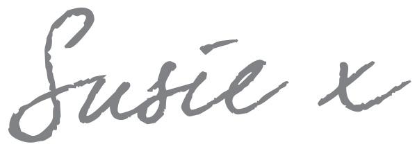 signature of the editor susie in grey handwriting