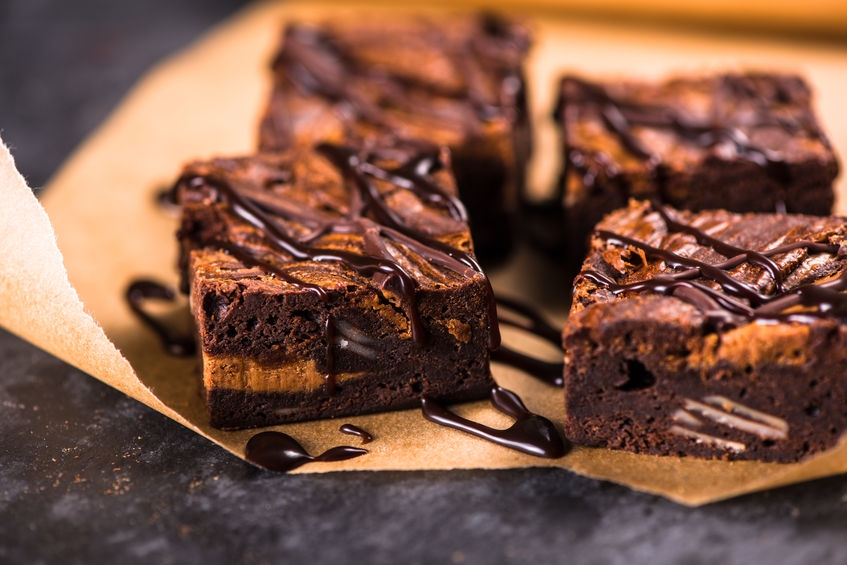 plate of deliciously gooey chocolate brownies