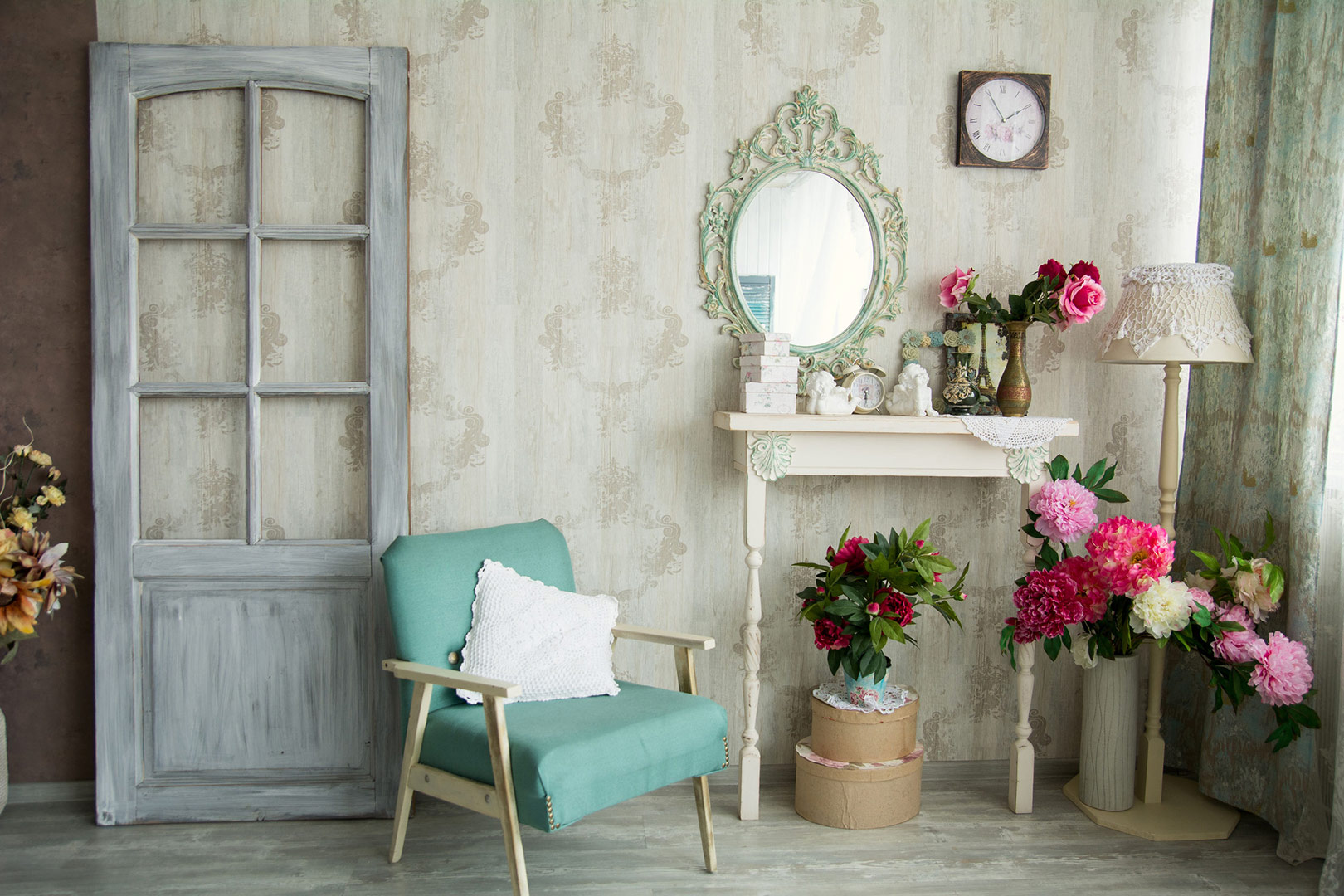 Room accented with colourful flowers