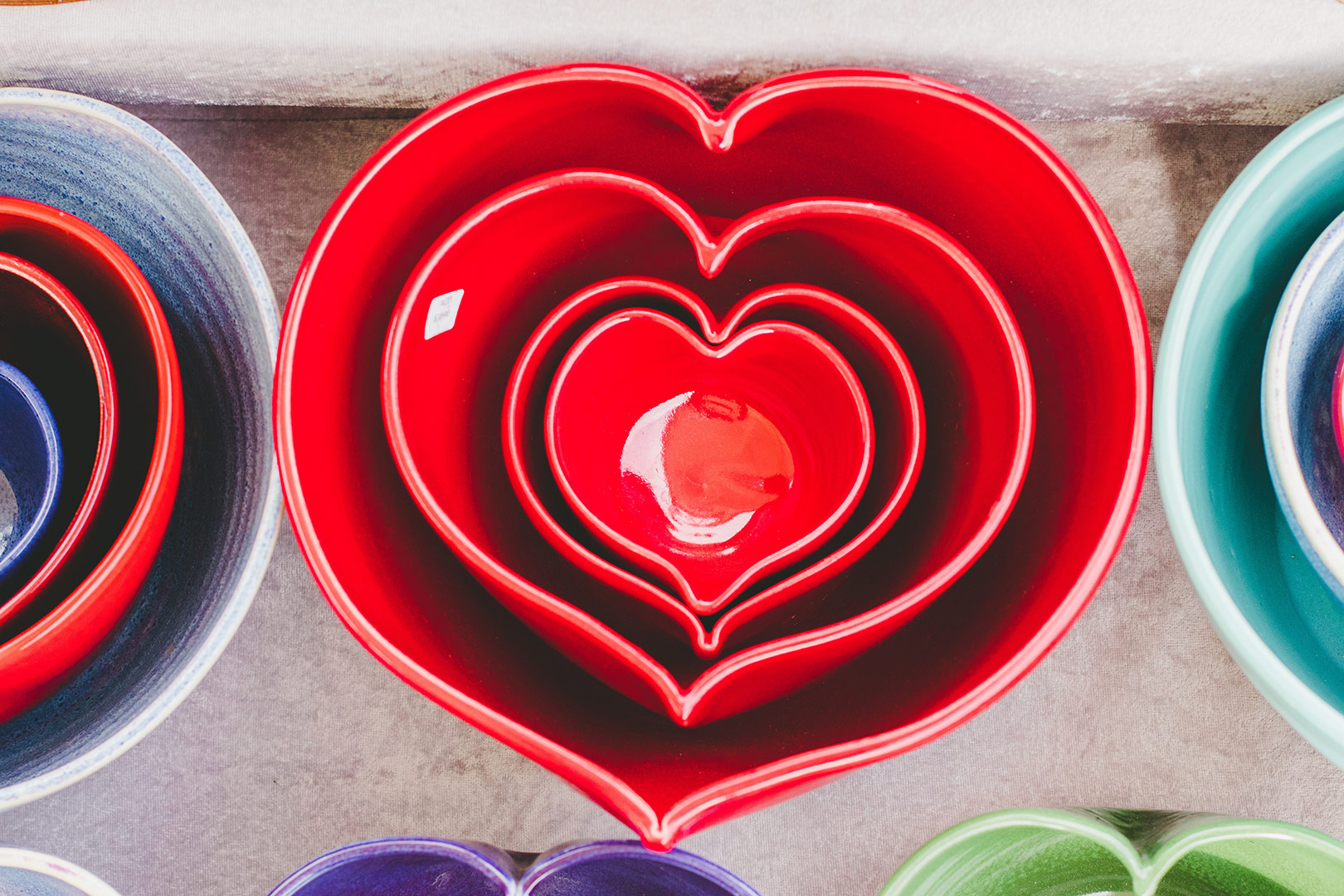 Red heart shaped bowls